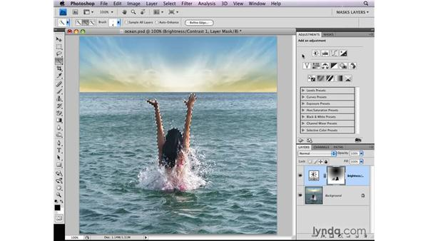 Adding grayscale pixels to an adjustment layer mask: Photoshop CS4: Layer Masks in Depth