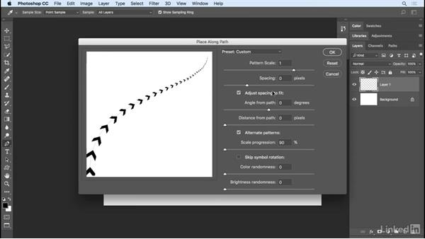 Placing a pattern along a path: Photoshop CC 2017 Essential Training: Design