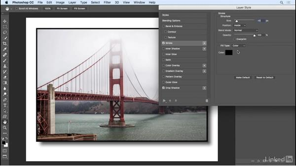 Applying layer effects and styles: Photoshop CC 2017 Essential Training: Design