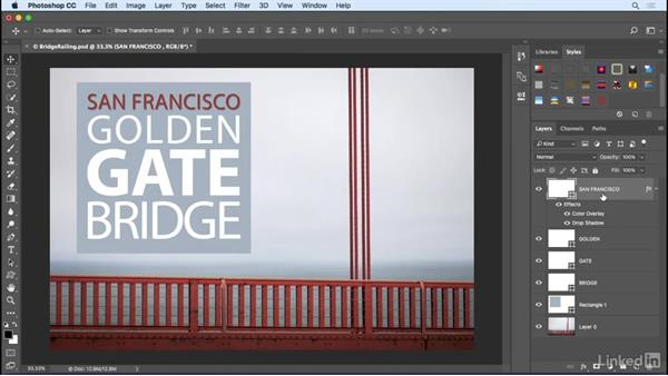 Save and apply layer effects and styles: Photoshop CC 2017 Essential Training: Design
