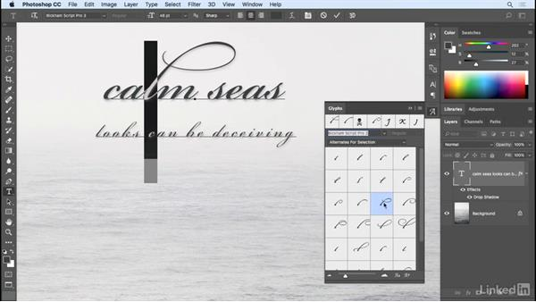 The Glyphs panel: Photoshop CC 2017 Essential Training: Design