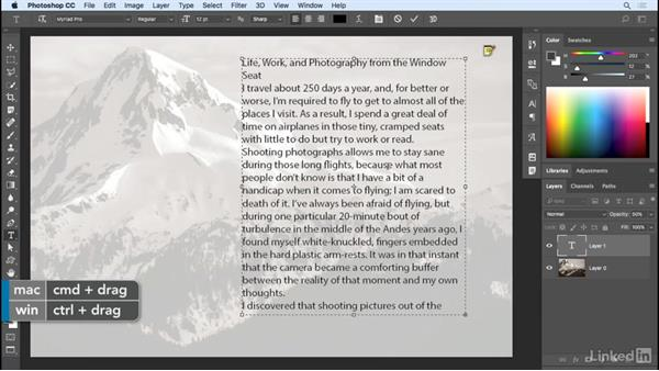 Working with paragraph (area) type: Photoshop CC 2017 Essential Training: Design