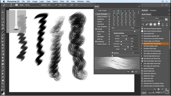 Natural media brushes: Photoshop CC 2017 Essential Training: Design