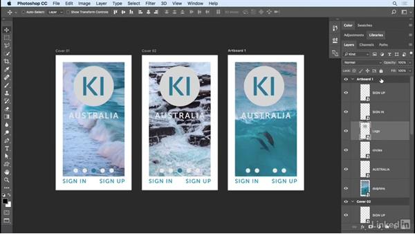 Tips and shortcuts for artboards: Photoshop CC 2017 Essential Training: Design