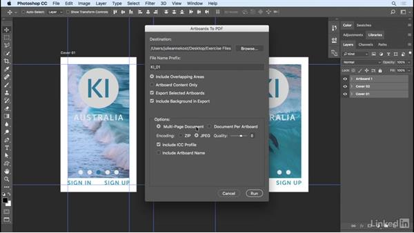 Saving and exporting artboards: Photoshop CC 2017 Essential Training: Design