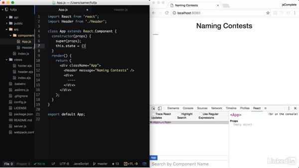 Component state: Learning Full-Stack JavaScript Development: MongoDB, Node and React