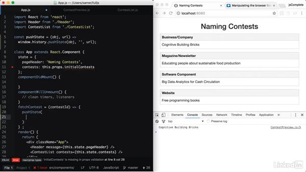 Navigating to a contest: Learning Full-Stack JavaScript Development: MongoDB, Node and React