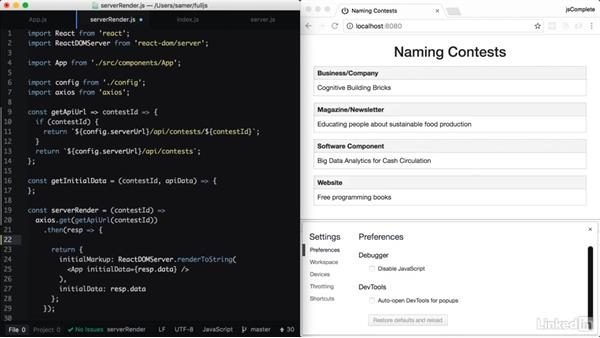 Server-side routing for a contest: Learning Full-Stack JavaScript Development: MongoDB, Node and React