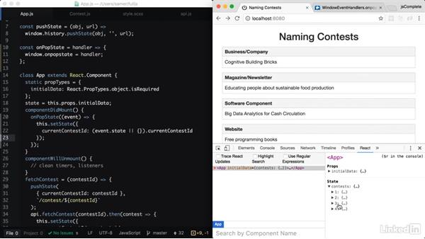 Handling the browser's back button: Learning Full-Stack JavaScript Development: MongoDB, Node and React