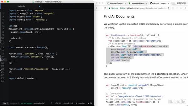 Reading data from MongoDB: Learning Full-Stack JavaScript Development: MongoDB, Node and React