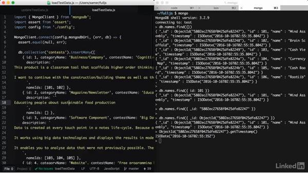 Example script to update all data: Learning Full-Stack JavaScript Development: MongoDB, Node and React