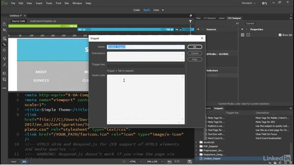 Reorganized workspaces and Snippets panel: Dreamweaver CC 2017: New Features