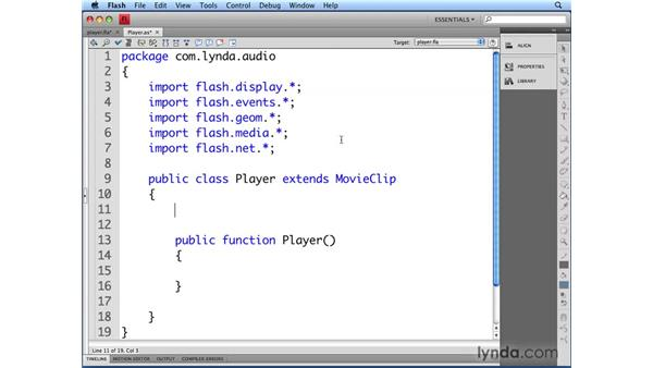 Creating the Player class: Flash CS4 Professional Audio Techniques