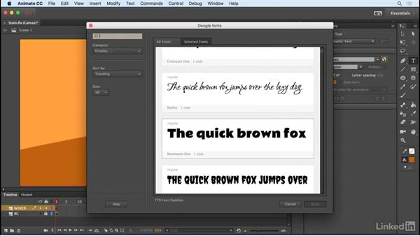 Google Fonts: Animate CC 2017: New Features