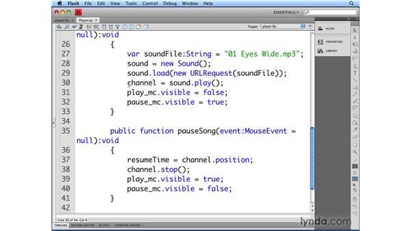 Pausing audio: Flash CS4 Professional Audio Techniques
