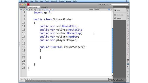 Creating the VolumeSlider class: Flash CS4 Professional Audio Techniques