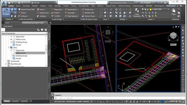 Understanding feature lines and slites: AutoCAD Civil 3D: Site Design