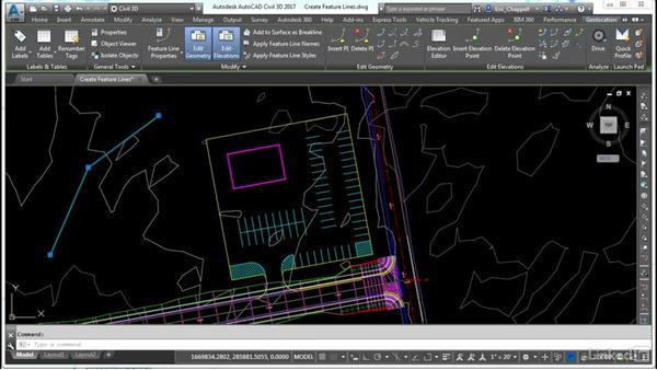 Creating featuring lines: AutoCAD Civil 3D: Site Design