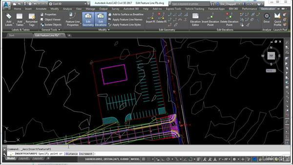 Editing feature line PIs: AutoCAD Civil 3D: Site Design