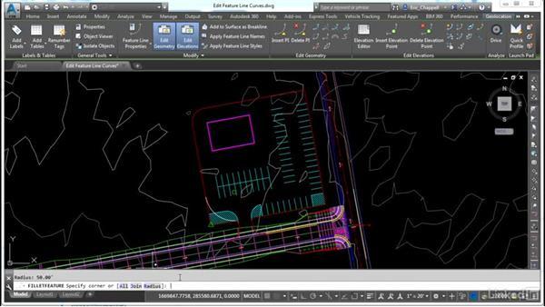 Editing feature line curves: AutoCAD Civil 3D: Site Design