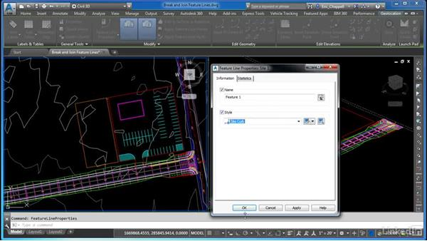 Breaking and joining feature lines: AutoCAD Civil 3D: Site Design