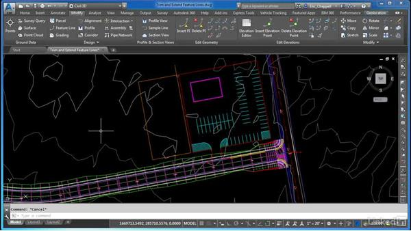 Trimming and extending feature lines: AutoCAD Civil 3D: Site Design