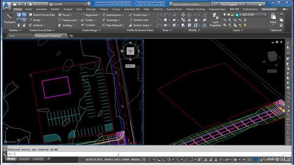 Raising and lowering feature lines: AutoCAD Civil 3D: Site Design