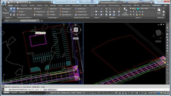 Editing individual feature line elevations: AutoCAD Civil 3D: Site Design