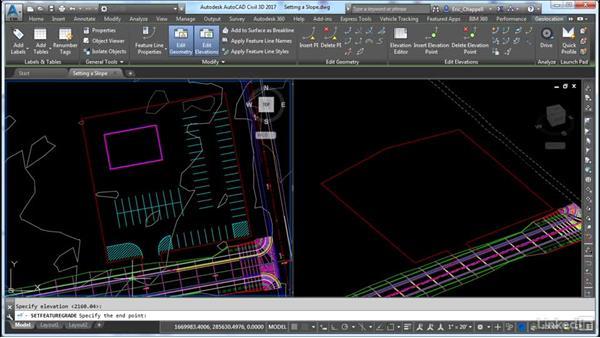 Setting a slope along a feature line: AutoCAD Civil 3D: Site Design