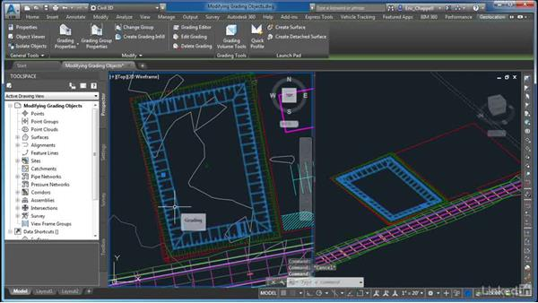 Modifying grading objects: AutoCAD Civil 3D: Site Design