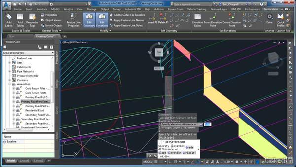 Creating curbs: AutoCAD Civil 3D: Site Design