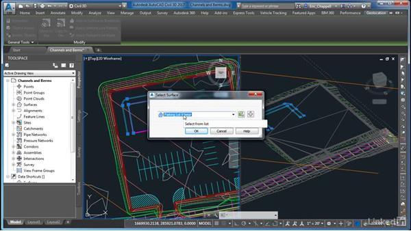 Adding channels and berms: AutoCAD Civil 3D: Site Design