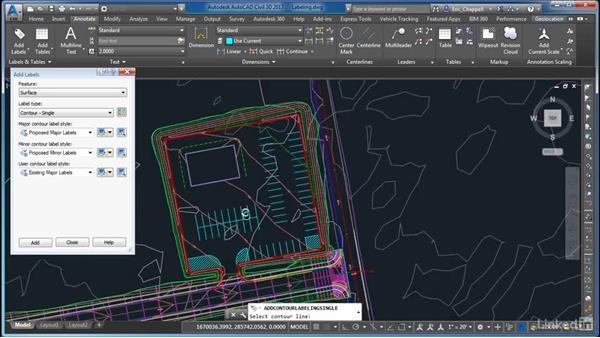 Labeling your grading design: AutoCAD Civil 3D: Site Design