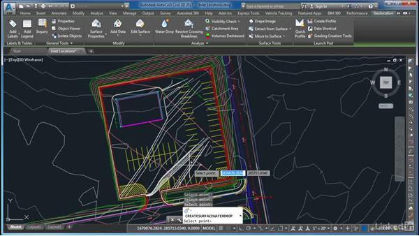 Determining inlet locations: AutoCAD Civil 3D: Site Design