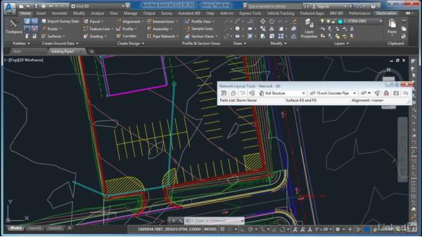 Adding pipes: AutoCAD Civil 3D: Site Design
