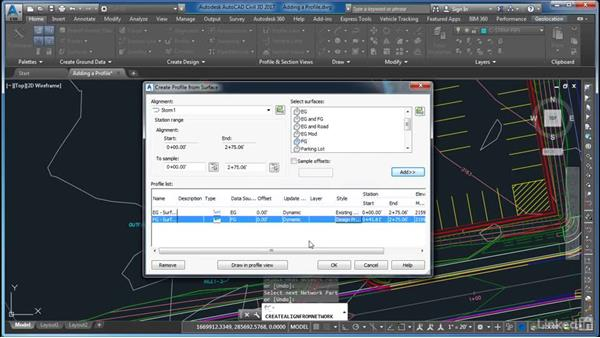 Adding a profile: AutoCAD Civil 3D: Site Design