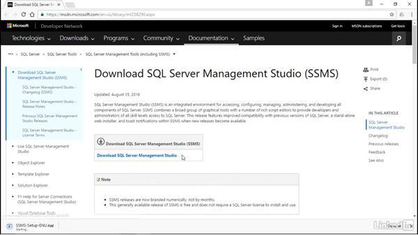 Install SQL Management Studio: Microsoft SQL Server 2016 Essential Training