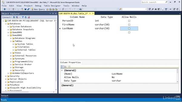 Create a table using Management Studio