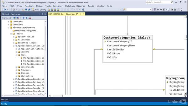 Create relationships between tables: Microsoft SQL Server 2016 Essential Training