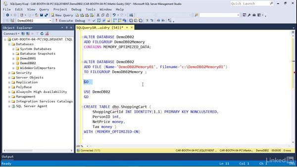 In-memory tables: Microsoft SQL Server 2016 Essential Training