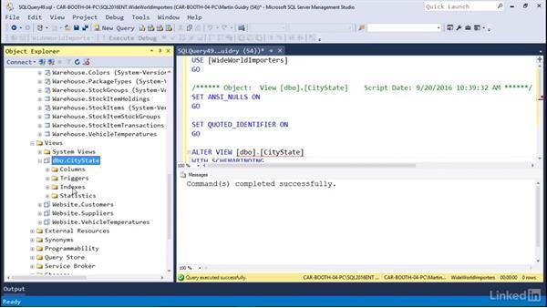Understanding the advanced options of views: Microsoft SQL Server 2016 Essential Training