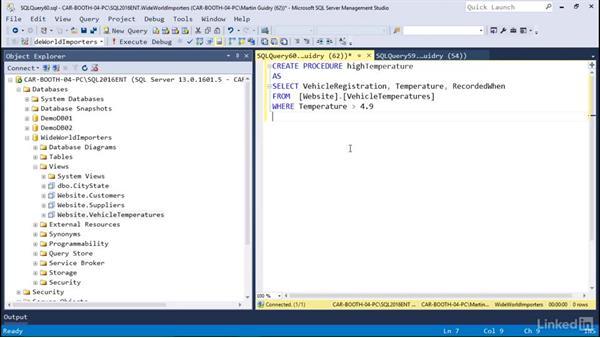 Stored procedures: Microsoft SQL Server 2016 Essential Training