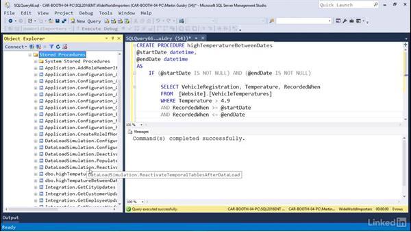 Parameterized stored procedures: Microsoft SQL Server 2016 Essential Training