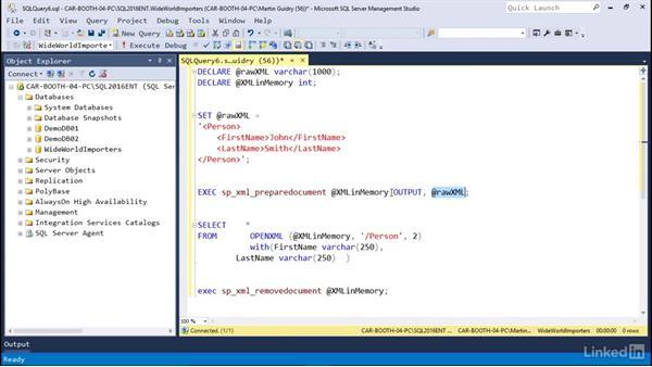 Shred XML: Microsoft SQL Server 2016 Essential Training