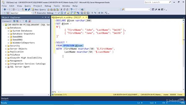 Converting JSON to tabular data: Microsoft SQL Server 2016 Essential Training