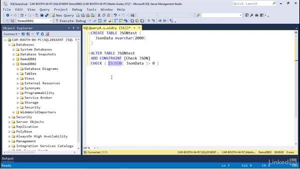 Storing JSON: Microsoft SQL Server 2016 Essential Training