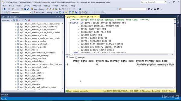 Understanding dynamic management views: Microsoft SQL Server 2016 Essential Training