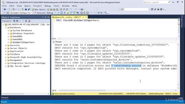 Using database console commands (DBCC): Microsoft SQL Server 2016 Essential Training