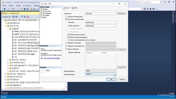 Instance-level logins: Microsoft SQL Server 2016 Essential Training