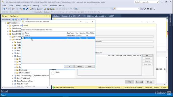 Create an index: Microsoft SQL Server 2016 Essential Training